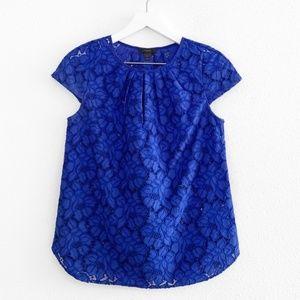 J. Crew Blue Floral Lace Top